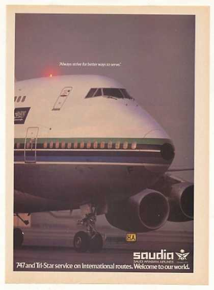 Saudia Saudi Arabian Airlines 747 Jet Photo (1982)