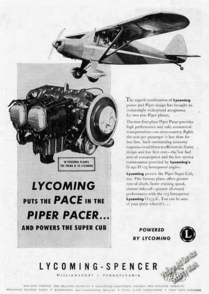 Piper Pacer & Lycoming Engine Photos Rare (1948)