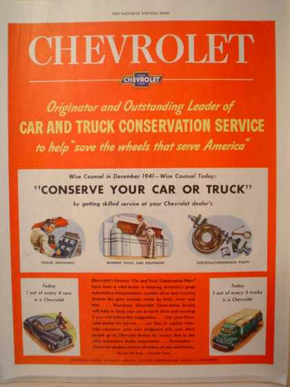 Chevrolet Conserve your car or truck (1945)