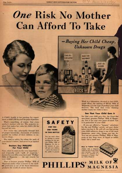 Chas. H. Phillips Chemical Co.'s Milk of Magnesia – One Risk No Mother Can Afford To Take (1934)
