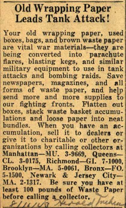Waste Paper Collector's Waste Paper – Old Wrapping Paper Leads Tank Attack (1943)