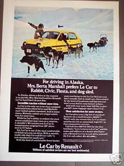 Alaska Dog Sled Team Photo Renault Le Car (1979)