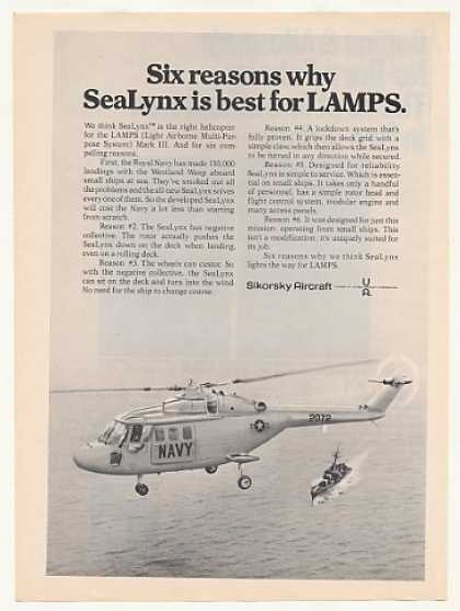 Navy LAMPS Mark III Sikorsky SeaLynx Helicopter (1973)