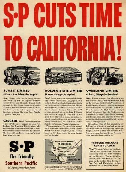 Southern Pacific's Faster service – SP Cuts Time To California (1946)