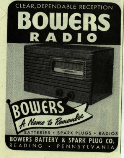 Bowers Battery and Spark Plug Co.'s Radio – Bowers Radio (1947)