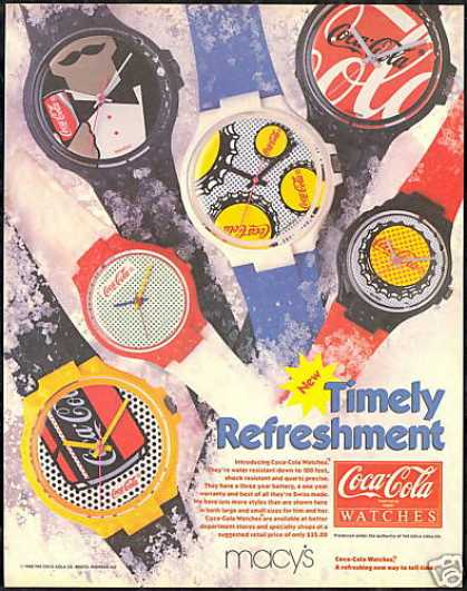 Coke Coca Cola 6 Watch Photo Print Vintage (1987)