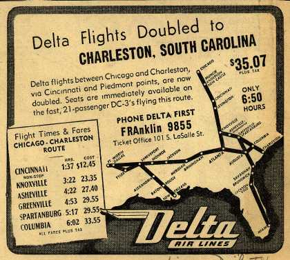 Delta Airline's Charleston, SC – Delta Flights Doubled to Charleston, South Carolina (1946)