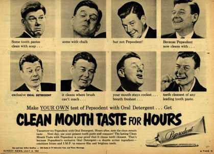 Lever Brothers Company's Pepsodent Tooth Paste – Clean Mouth Taste for Hours (1952)