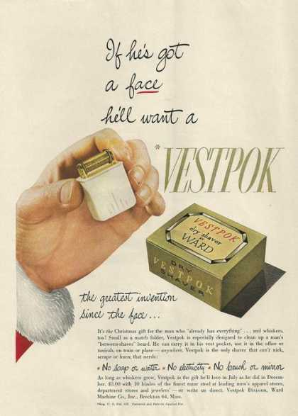 Vestpok Dry Shaver By Ward (1946)