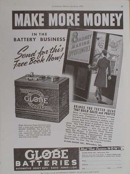Globe Batteries. Make more money (1939)