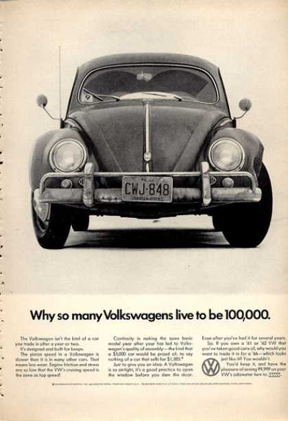 Vw Volkswagen Ad Why So Many Live To Be 100,000 (1966)