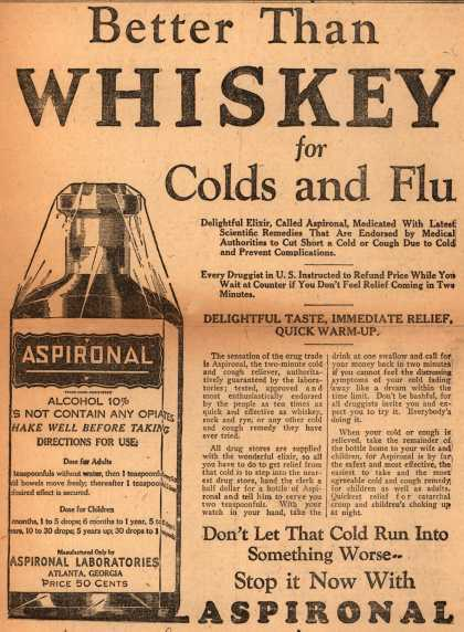 Aspironal Laboratorie's Aspironal – Better Than Whiskey for Colds and Flu (1928)