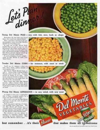 Delmonte Vegetables Large Color Food (1937)