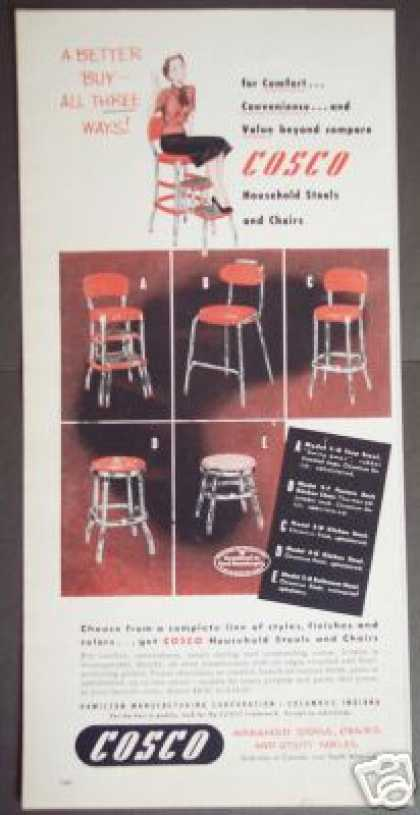 Cosco Chrome Household Stool Chair Retro Photo (1951)