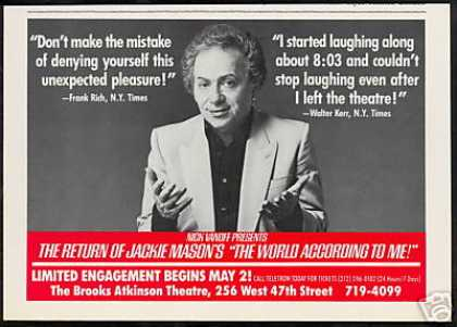 Jackie Mason Brooks Atkinson Theatre New York (1988)