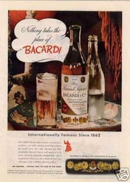 "Bacardi Rum Ad ""Nothing Takes the Place... (1943)"