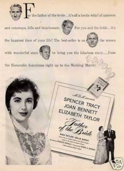 "Movie Ad ""Father of the Bride"" Elizabeth Taylor (1950)"