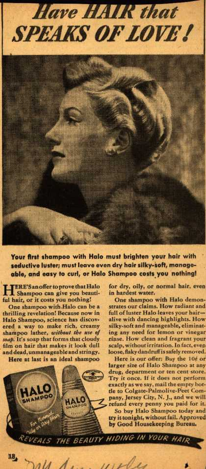 Colgate-Palmolive-Peet Company's Halo Shampoo – Have Hair that Speaks Of Love (1940)