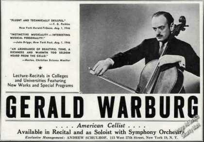 Gerald Warburg Photo Cello Booking (1947)