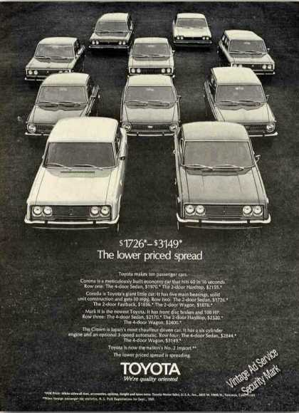 Toyota Photo Complete Lineup Cars (1970)