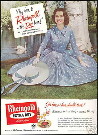 Blue Polka Dot Dress Miss Rheingold Beer (1957)