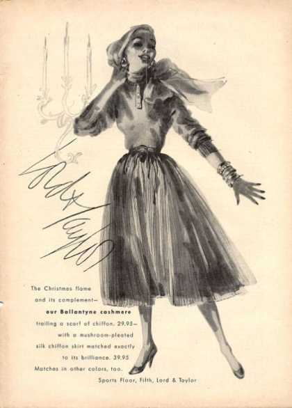 Lord Taylor Ballantyne Cashmere Fashion Dress (1952)