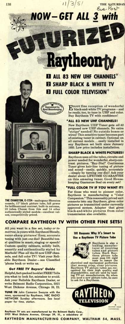 Raytheon Manufacturing Company's Television – Now-Get All 3 with Futurized Raytheon TV (1951)