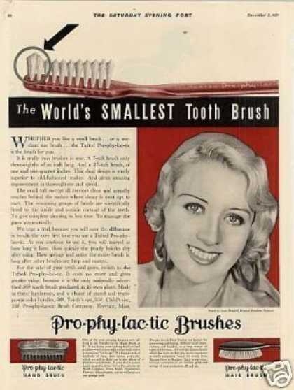 Pro-phy-lac-tic Brushes Ad Joan Blondell (1931)