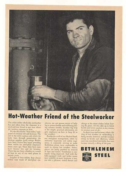 Bethlehem Steel Heat Tablet Steelworker Photo (1951)