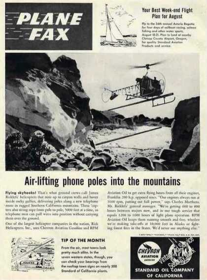 Helicopter Lifting Phone Poles Into Mountains (1955)
