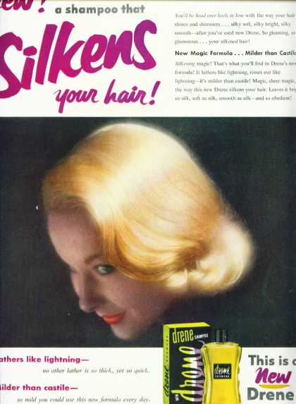 Drene Shampoo Ad Very Pretty Blonde (1954)