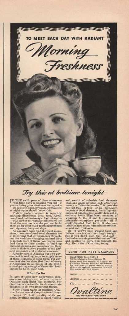 Morning Freshness Ovaltine Food Drink Prin (1942)