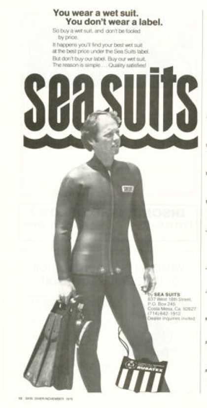Rubatex Sea Wet Suit Scuba Diver Diving (1976)