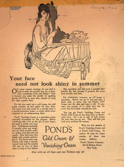 Pond's Extract Co.'s Pond's Cold Cream and Vanishing Cream – Your face need not look shiny in summer (1920)