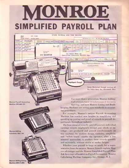 Monroe Calculating Machine – Payroll Plan (1945)