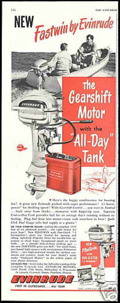 Evinrude Gearshift Control Outboard Boat Motor (1950)
