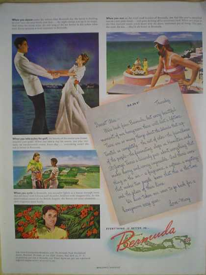 Bermuda Tourism Honeymoon letter theme (1947)