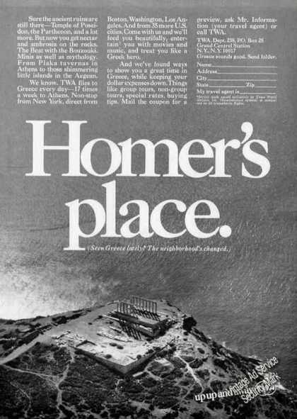 "Greece ""Homer's Place"" Collectible Twa Travel (1968)"