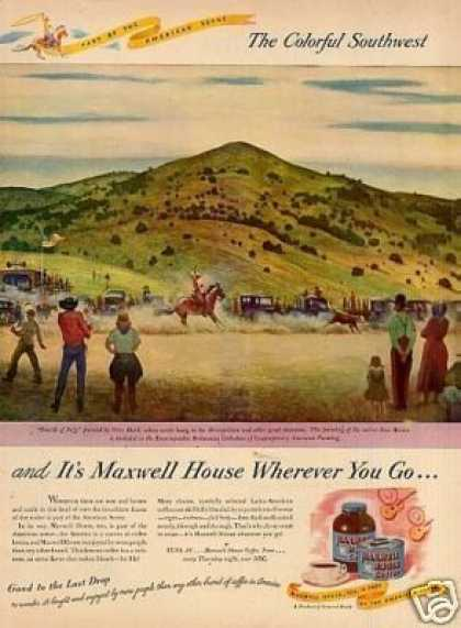 Maxwell House Coffee Ad Peter Hurd Art (1946)
