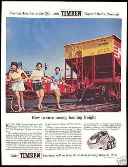Three Pretty Women Train Freight Car Timken (1956)