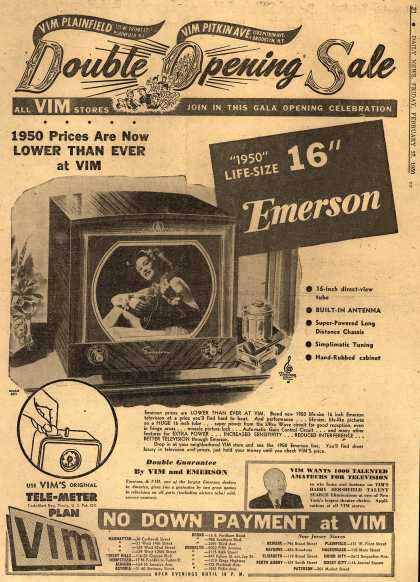 Emerson Radio and Phonograph Corporation's Television – Double Opening Sale (1950)