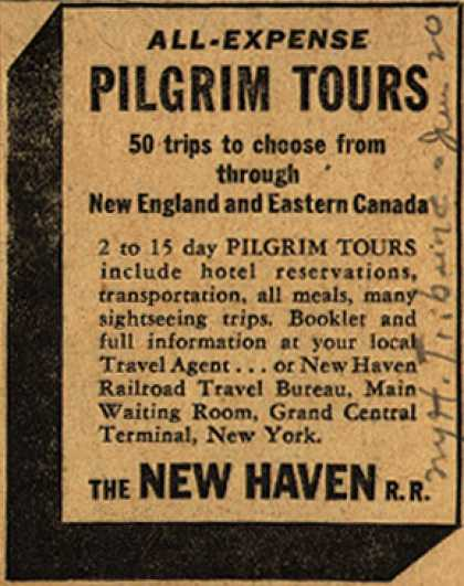 New Haven Railroad's Pilgrim Tours – All-Expense Pilgrim Tours (1947)