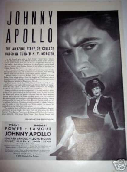 Johnny Apollo Dorothy Lamour Movie (1937)