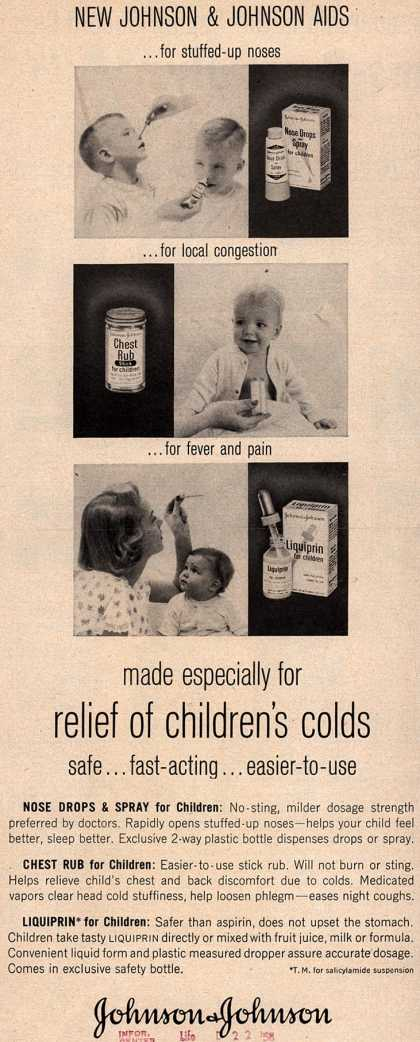 Johnson & Johnson's Liquiprin – made especially for relief of children's colds safe... fast-acting...easier-to-use (1958)