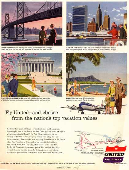 United Air Line's Vacation flights – Fly United-and choose from the nation's top vacation values (1954)
