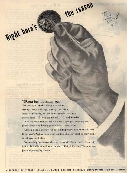 Owens-Corning Fiberglass Corporation's Victory Bonds – Right Here's The Reason (1945)