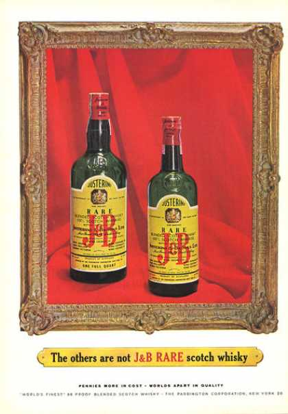 J&b Scotch Whisky Bottle (1964)