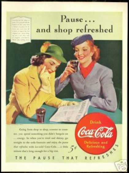 Coke Pretty Women Fashion News Coca Cola Art (1940)
