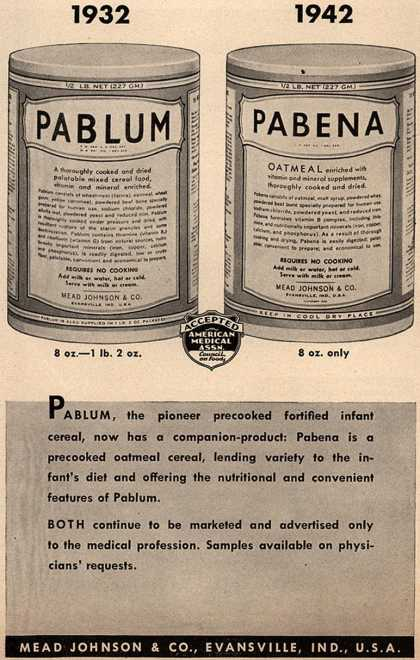 Mead Johnson and Company's Pablum and Pabena – 1932 1942 (1943)