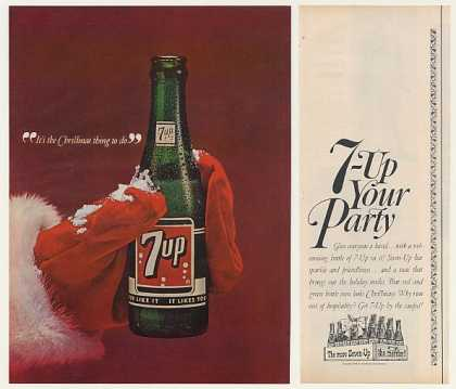 7-Up Soda Bottle Santa Hand Christmas (1964)